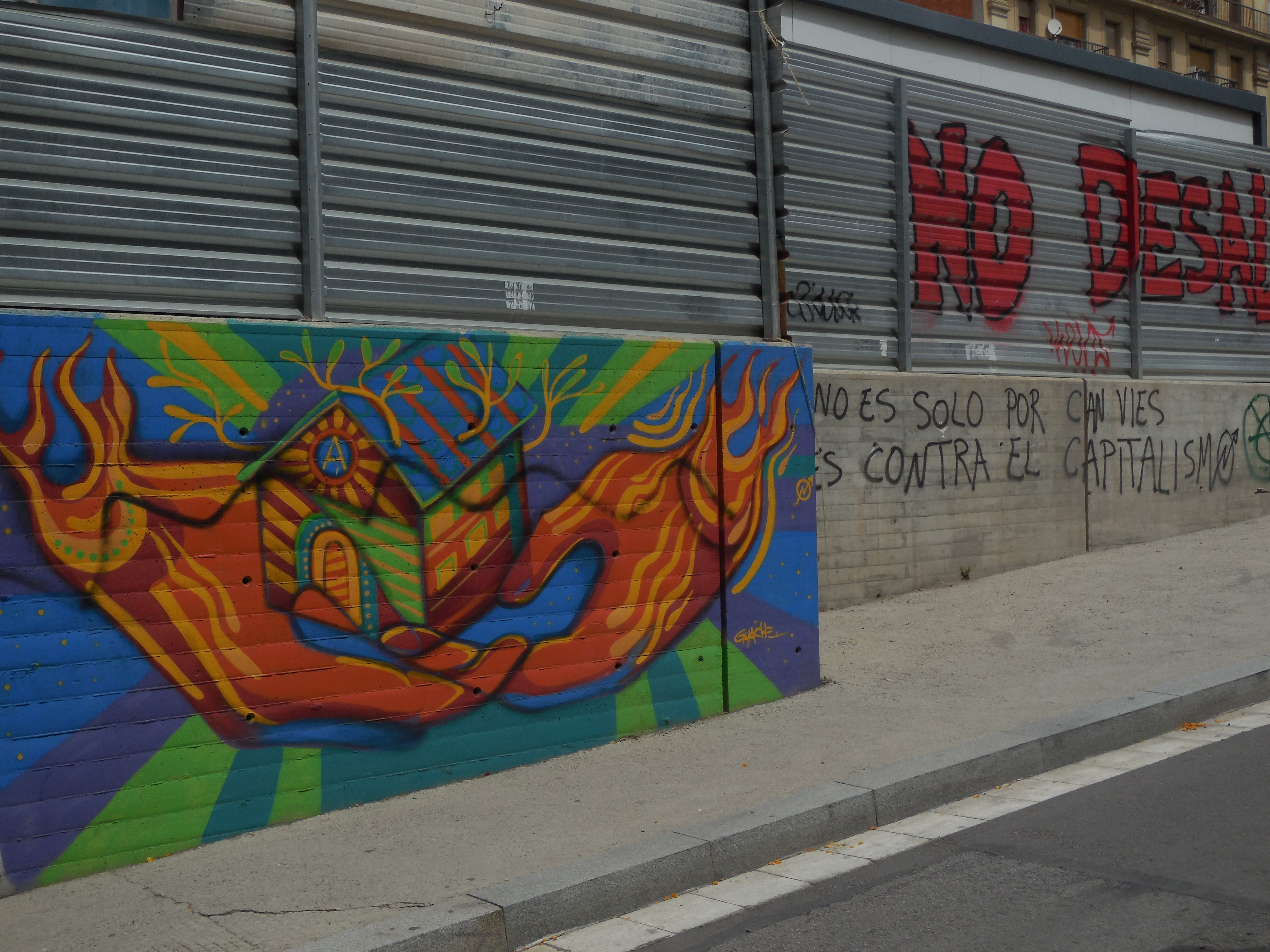 """""""It's not just for Can Vies, its against capitalism"""" Mural near CanVies"""